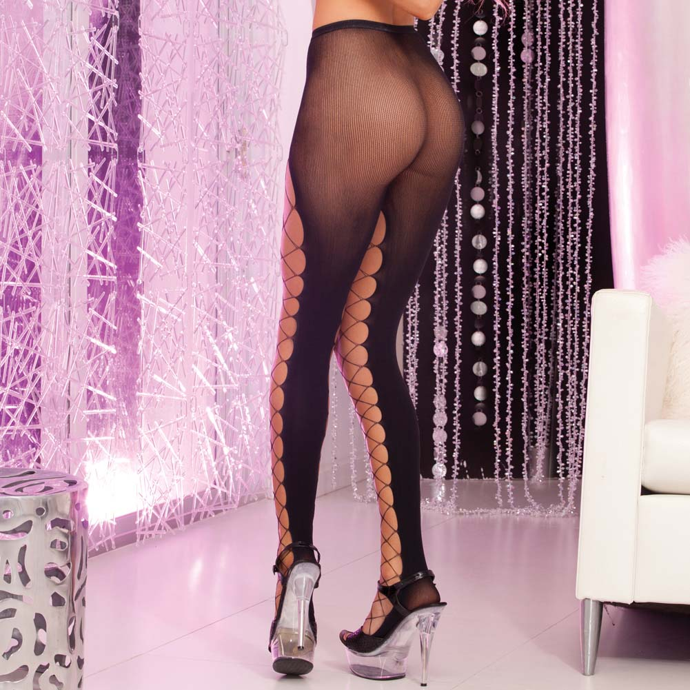 Pink Lipstick Fishnet Front Pantyhose One Size Black - View #2