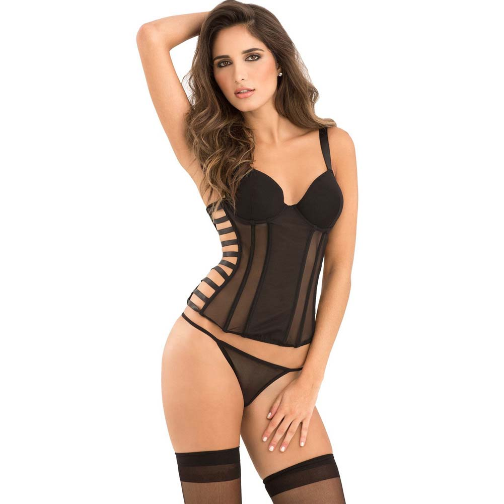 Rene Rofe Signature Bustier with Cage Detail Removable Garters and G-String Large Black - View #1