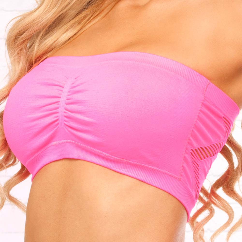 Pink Lipstick Side Game Seamless Bandeau and Booty Shorts Set One Size Pink - View #3