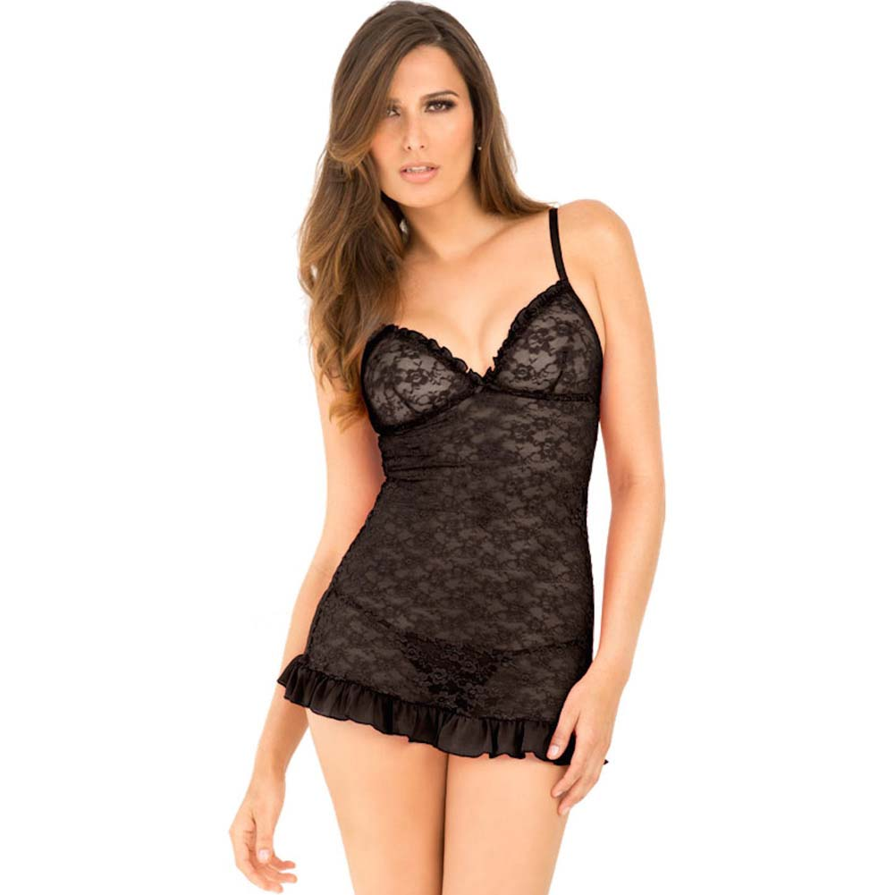Rene Rofe Floral Lace Chemise and G-String Set Small/Medium Black - View #1