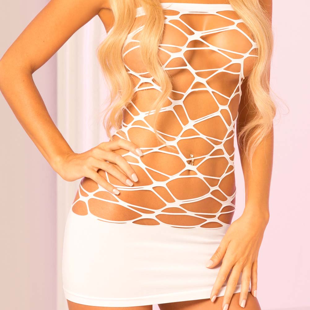 Pink Lipstick Web of Seduction Tube Dress One Size White - View #3