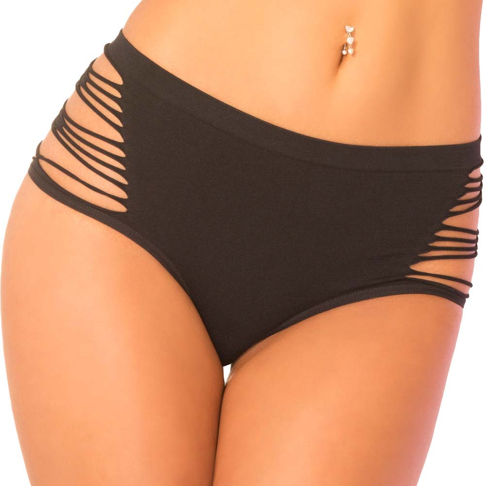 Pink Lipstick High and Wasted High-Waisted Panty Medium/Large Black - View #1