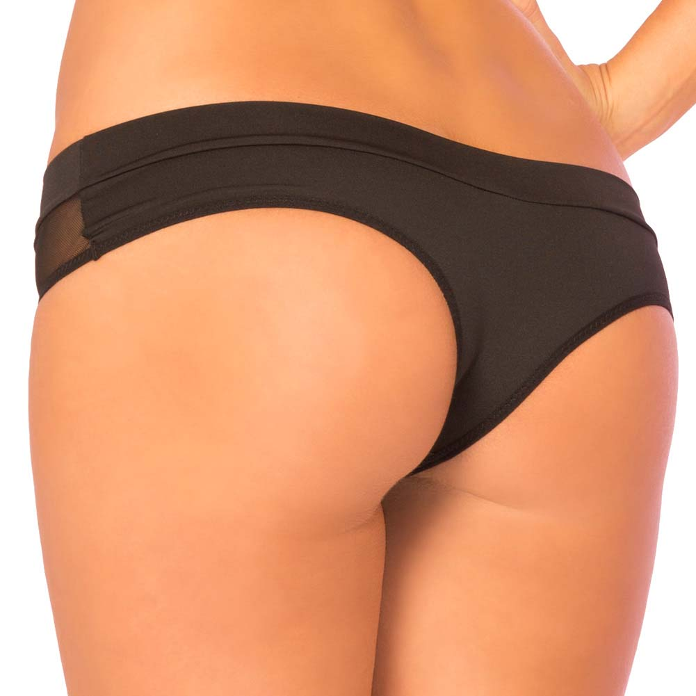 Pink Lipstick Hot Mess Micro Mesh Panty Medium/Large Black - View #2