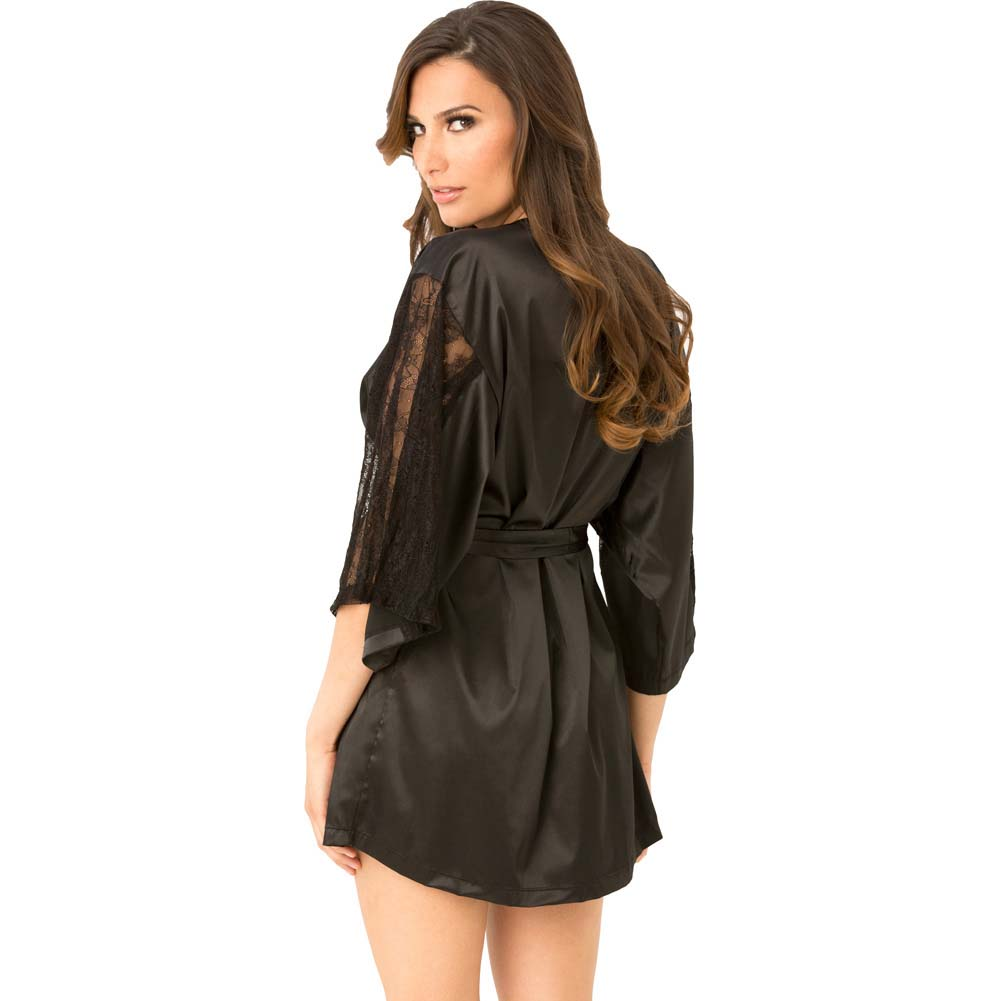 Rene Rofe Satin Robe with Lace Sleeves Small/Medium Black - View #2