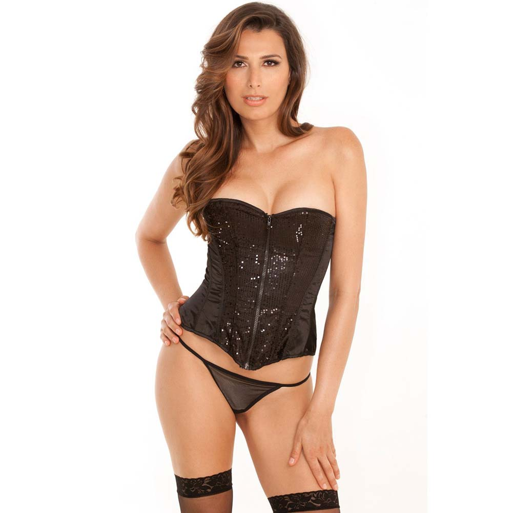 Rene Rofe Signature Starlight Dancer Corset with Contoured Boning and G-String Medium Black - View #1
