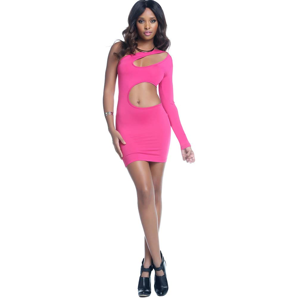 One Sleeve Bodycon Dress with Keyhole and Wrap Around Cutouts Extra Large Hot Pink - View #3