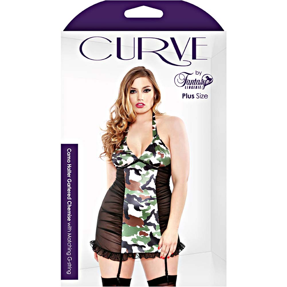 Fantasy Lingerie Halter Gartered Chemise with Matching G-String 3X/4X Black/Camo - View #3