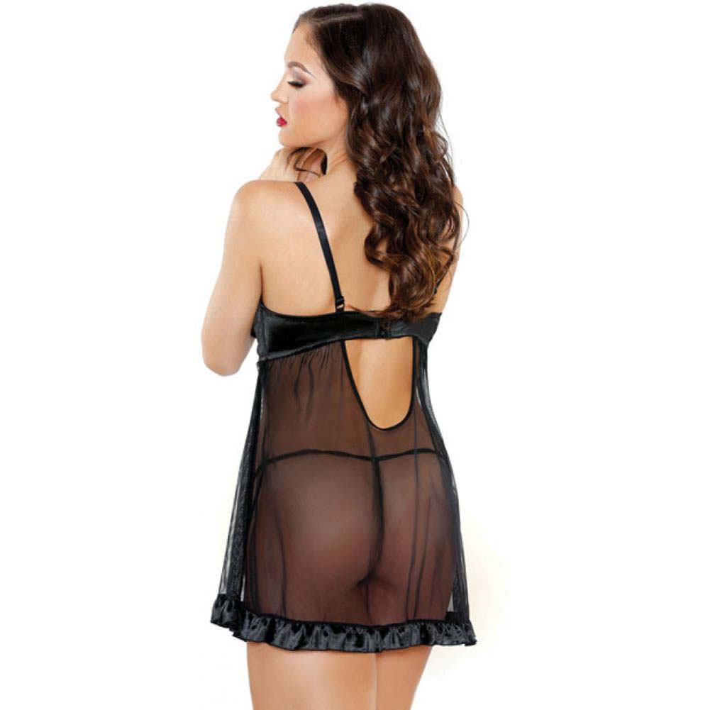 Fantasy Lingerie Shirred Cup Babydoll and Panty Set Small/Medium Black - View #2