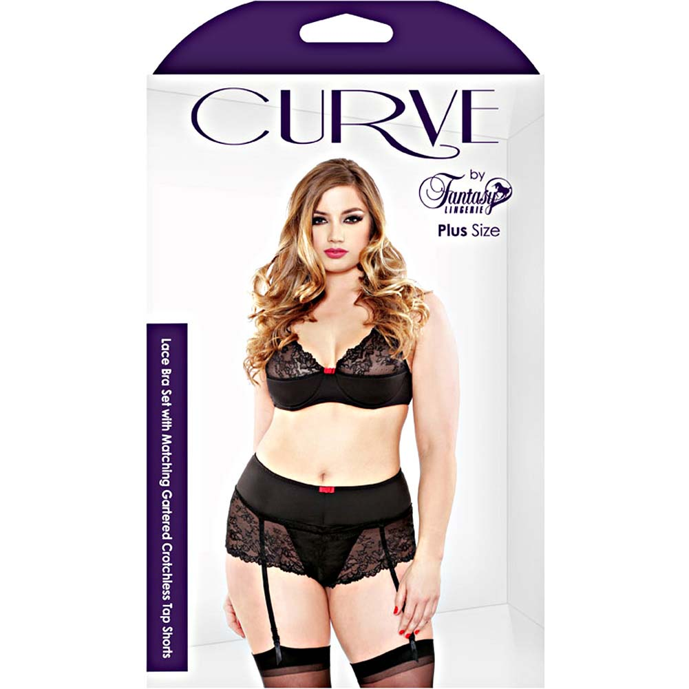 Fantasy Lingerie Lace Bra Set with Matching Gartered Crotchless Tap Shorts 1X/2X Black - View #3