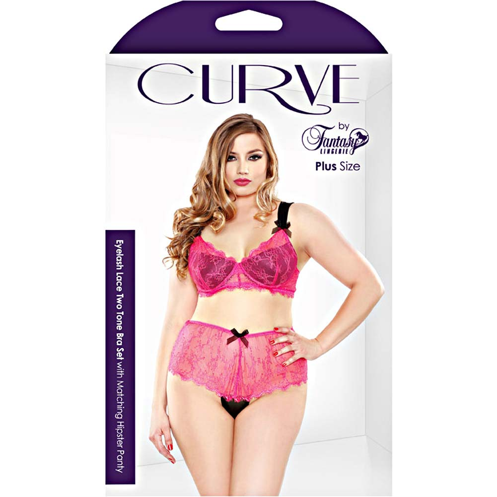 Fantasy Lingerie Curve Eyelash Lace Two Tone Bra Set with Matching Hipster Panty 1X/2X Hot Pink - View #3