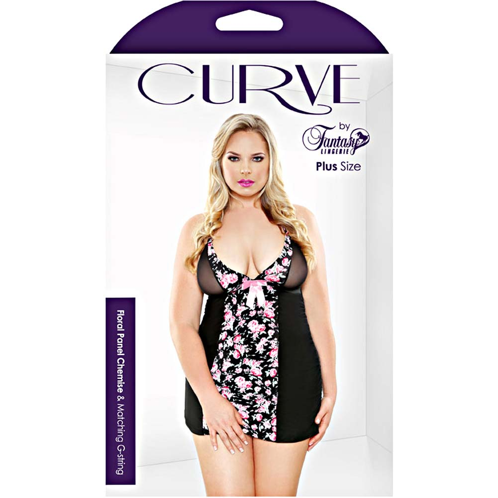 Fantasy Lingerie Floral Panel Chemise with Matching G-String Plus 1X/2X Pink Floral - View #3