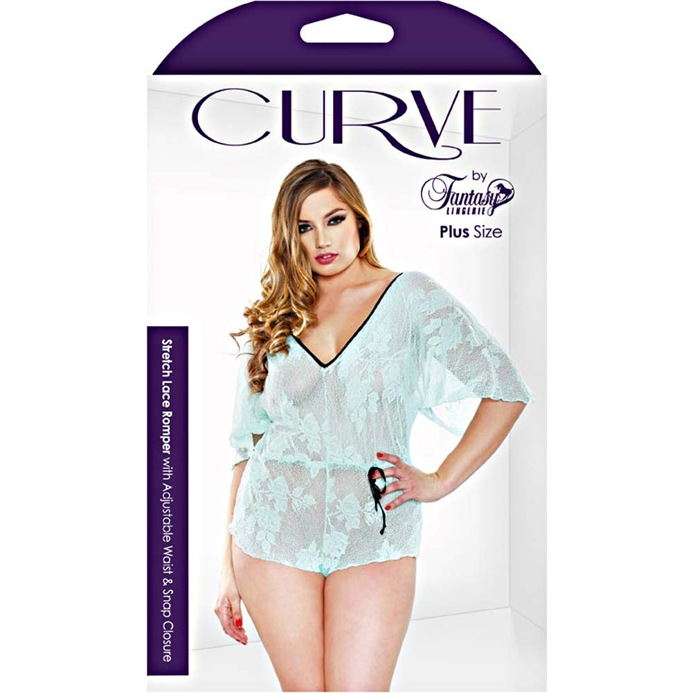 Fantasy Lingerie Stretch Lace Romper with Adjustable Waist and Snap Closure 3X/4X Seafoam - View #3
