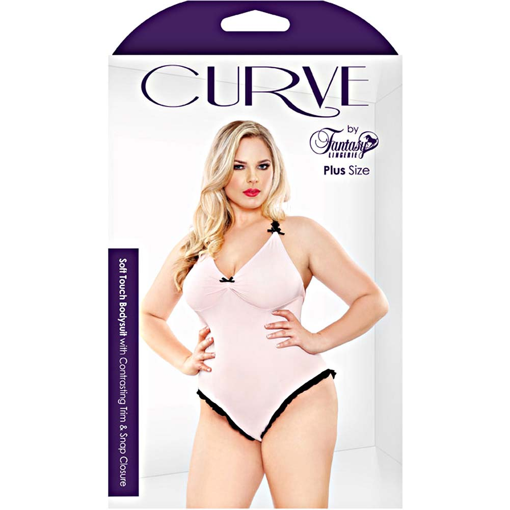 Fantasy Lingerie Curve Soft Touch Bodysuit with Contrasting Trim and Snap Closure 3X/4X Soft Pink - View #3