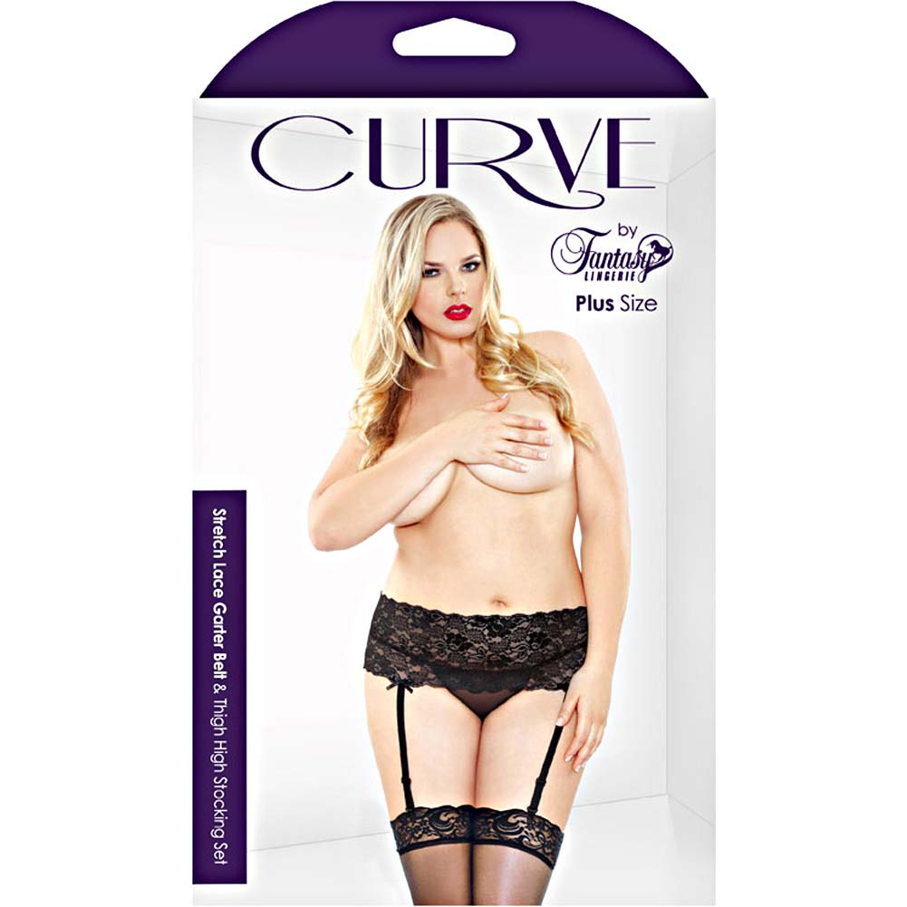 Fantasy Lingerie Curve Stretch Lace Garter Belt and Thigh High Stocking Set 3X/4X Black - View #3