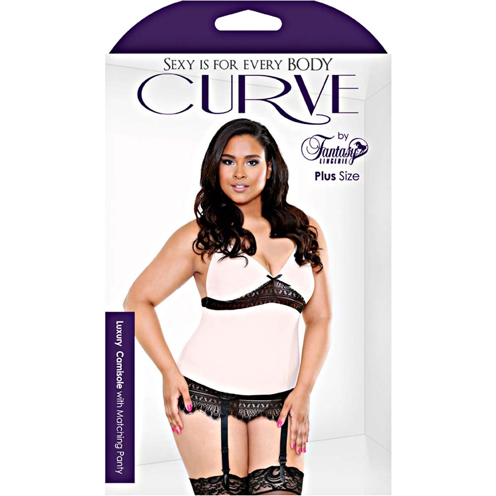 Fantasy Lingerie Curve Camisole with Garter and Thong 3X/4X Blush - View #3