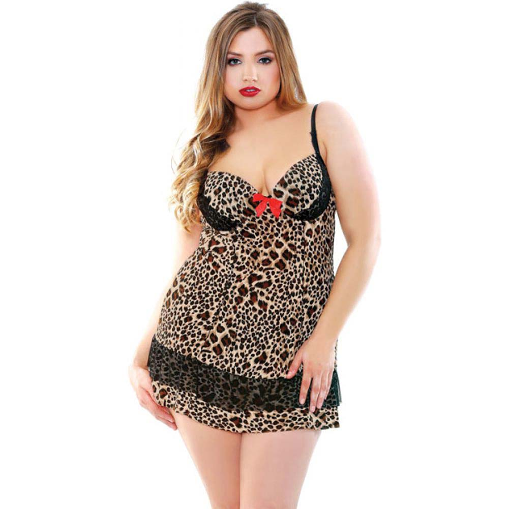 Fantasy Lingerie Leopard Print Underwire Babydoll with G-String 1X/2X Leopard - View #1