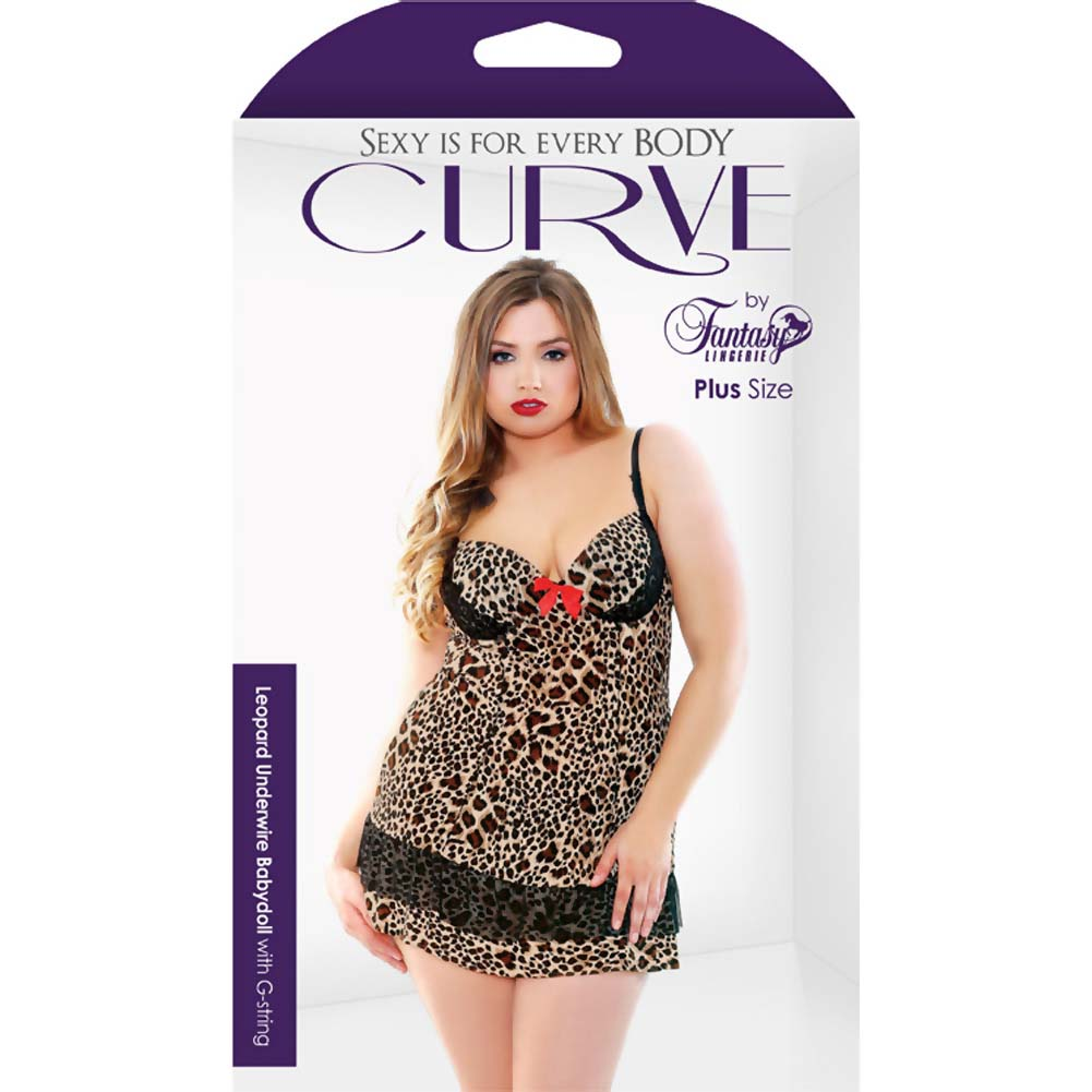 Fantasy Lingerie Leopard Print Underwire Babydoll with G-String 1X/2X Leopard - View #3