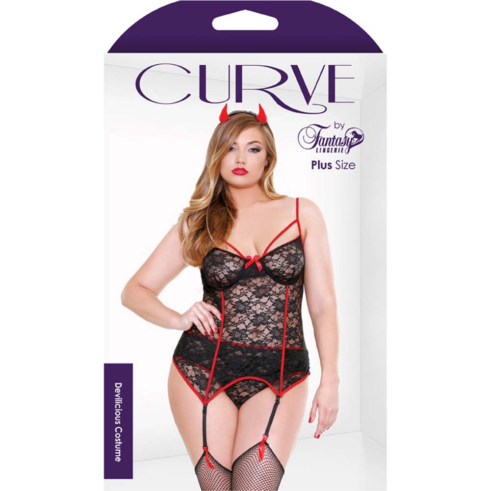 Fantasy Lingerie Curve Red Hot Devilicious Costume with Bustier Panty and Horns Black/Red 1X/2X - View #3