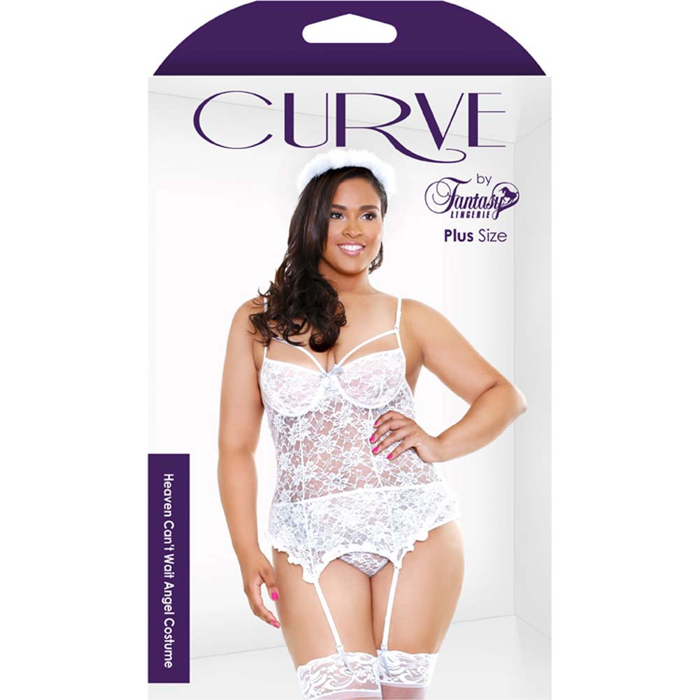 Fantasy Lingerie Curve Heaven CanT Wait Angel Costume with Halo 1X/2X White - View #3