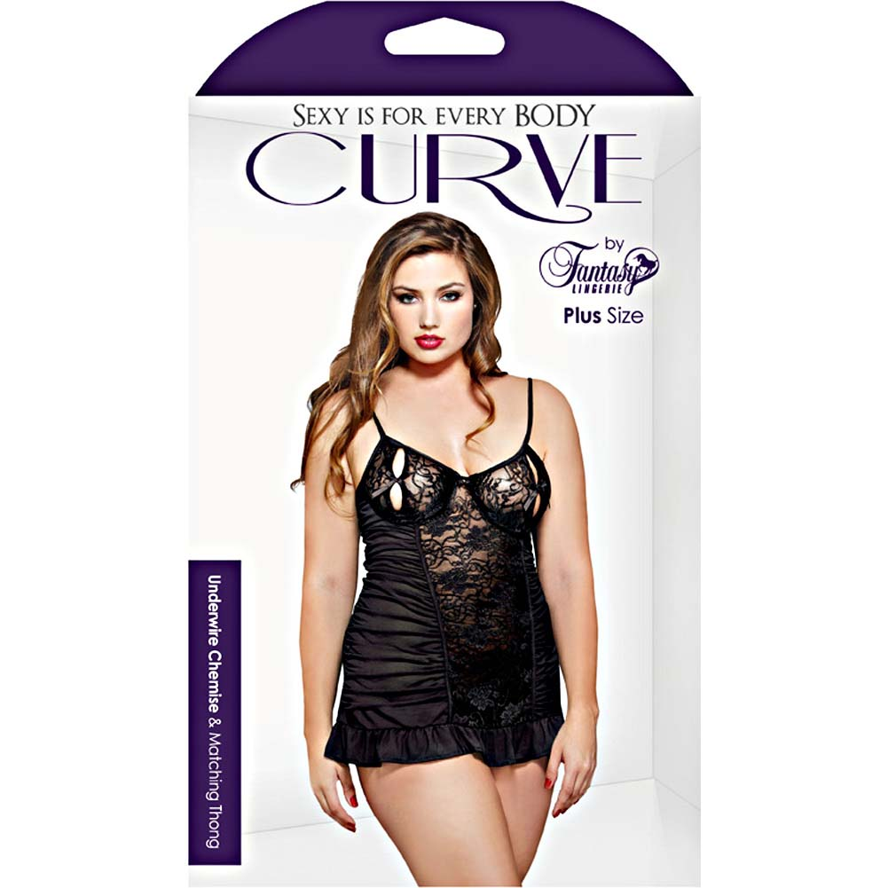 Fantasy Lingerie Curve Underwire Split Cup Chemise and Thong 3X/4X Black - View #3