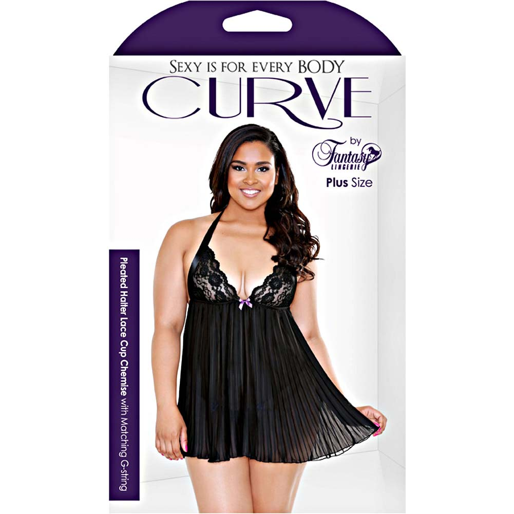 Fantasy Lingerie Pleated Halter Lace Up Cup Chemise Set 3X/4X Black - View #3