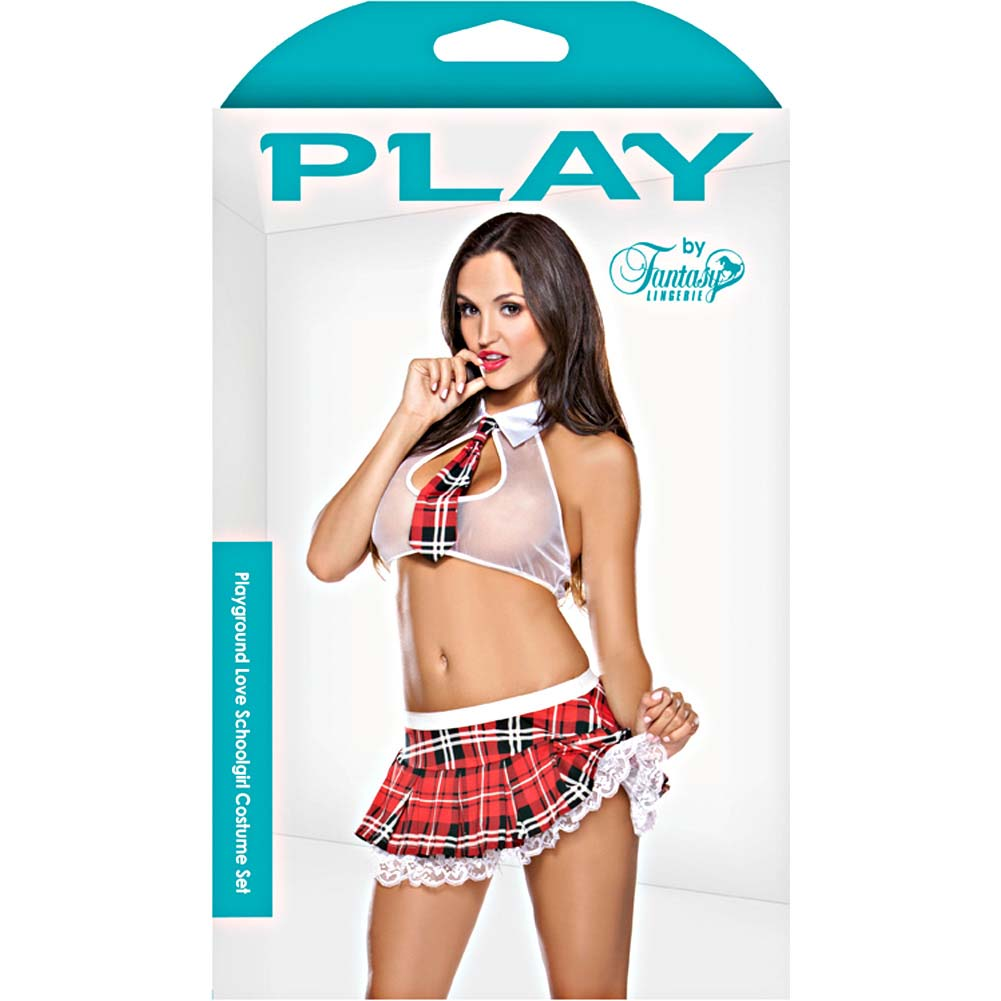 Fantasy Lingerie Seductive and Sassy Schoolgirl 3 Piece Costume Set Small/Medium Plaid - View #3