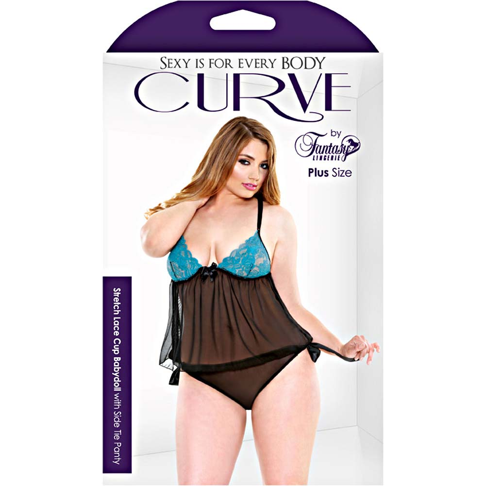 Fantasy Lingerie Curve Stretch Lace Babydoll 3X/4X Teal - View #3
