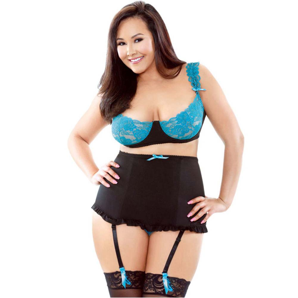 Fantasy Lingerie Stretch Lace Underwire Bra with High Waisted Panty 3X/4X Black/Teal - View #1