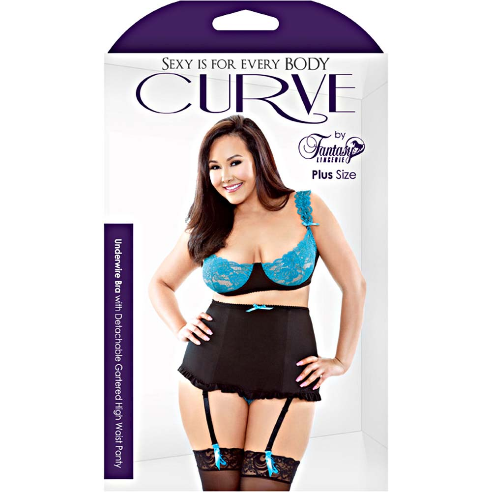 Fantasy Lingerie Stretch Lace Underwire Bra with High Waisted Panty 3X/4X Black/Teal - View #3