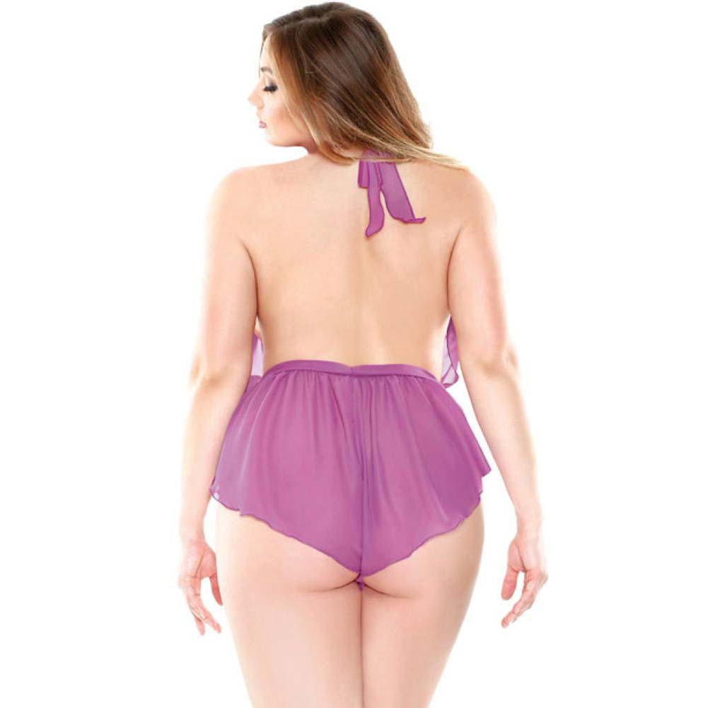 Fantasy Lingerie Halter Neck Ruffled Romper with Snap Closure 1X/2X Orchid - View #2