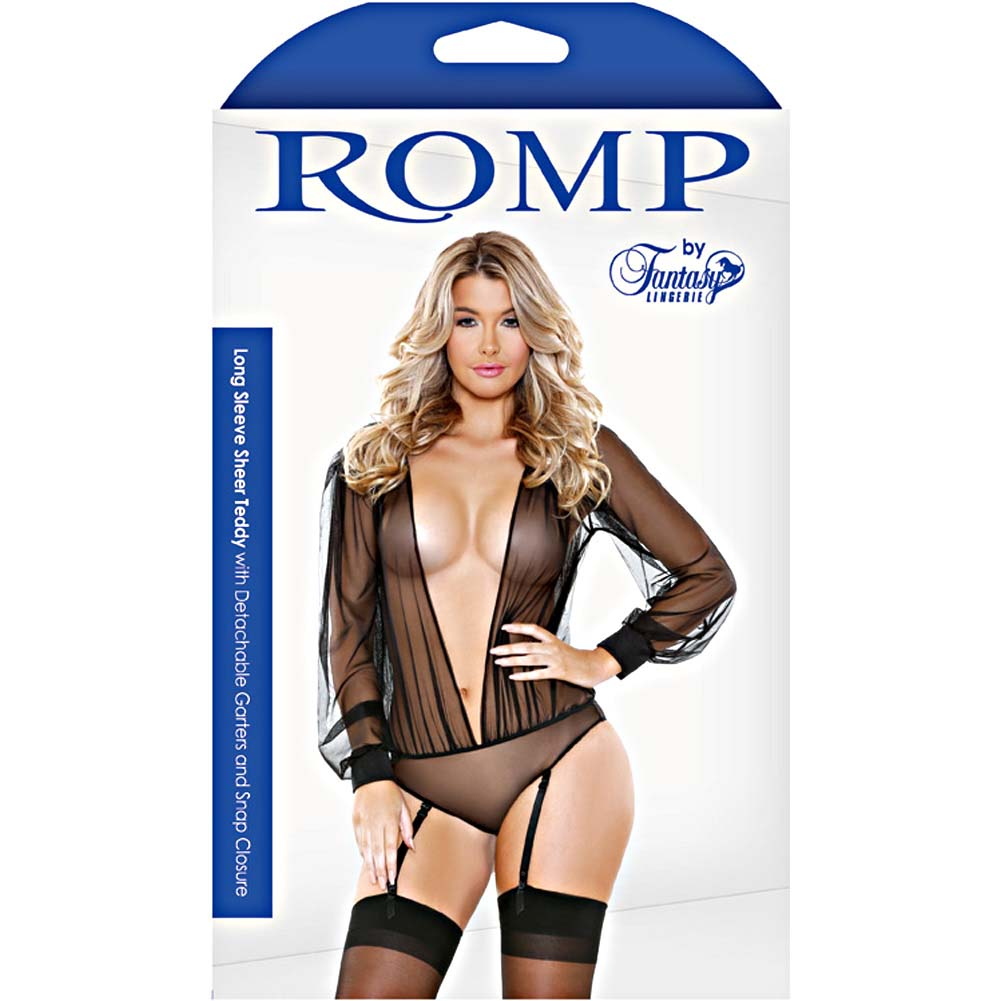 Fantasy Lingerie Teddy with Cuffed Long Sleeves Garters and Snap Closure Medium/Large Black - View #3