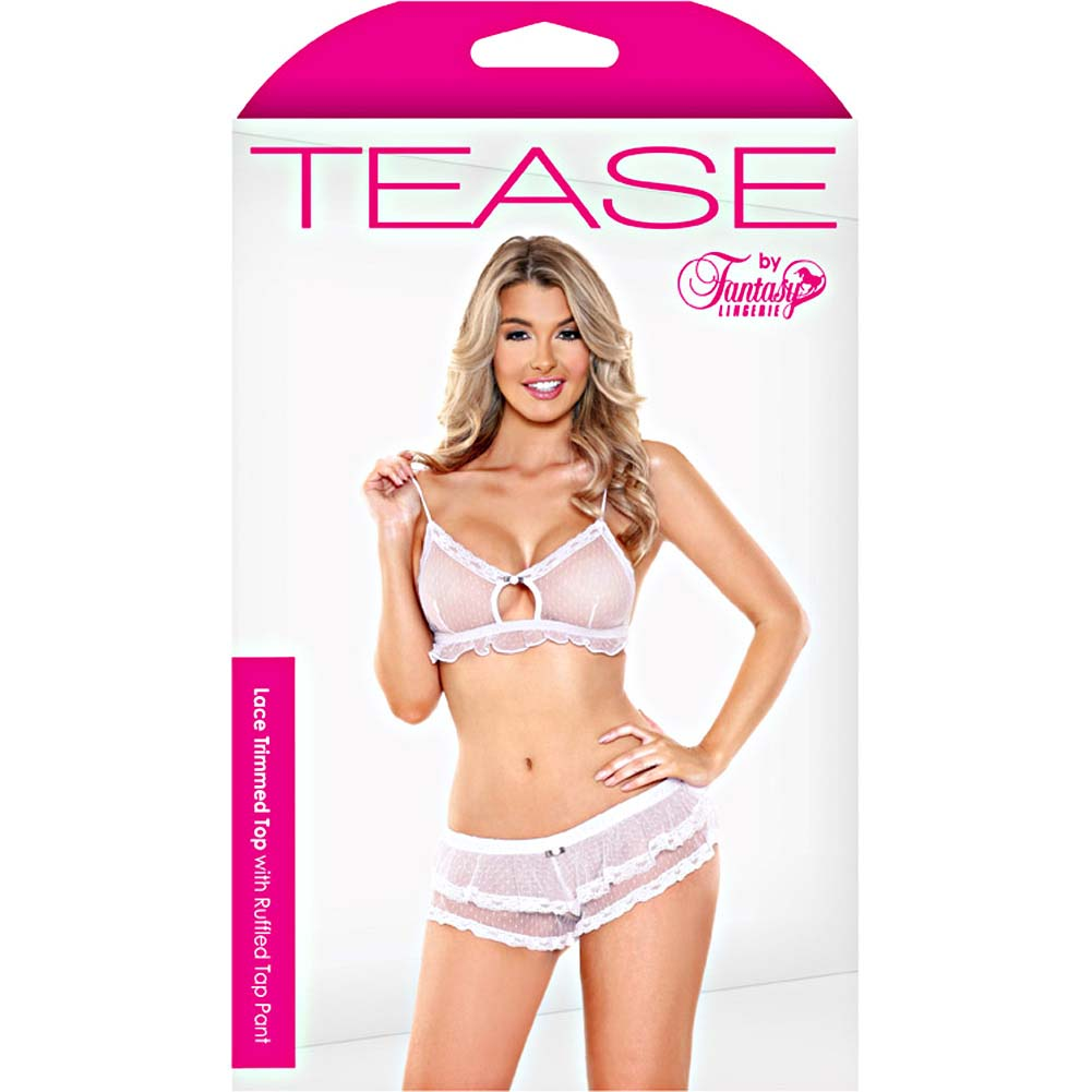 Fantasy Lingerie Tease Lace Trimmed Top with Tap Panties Small/Medium White - View #3