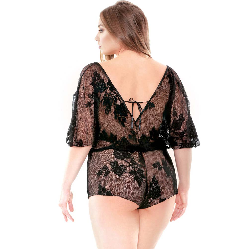 Fantasy Lingerie Curve Stretch Lace Romper with Adjustable Waist 3X/4X Black - View #2