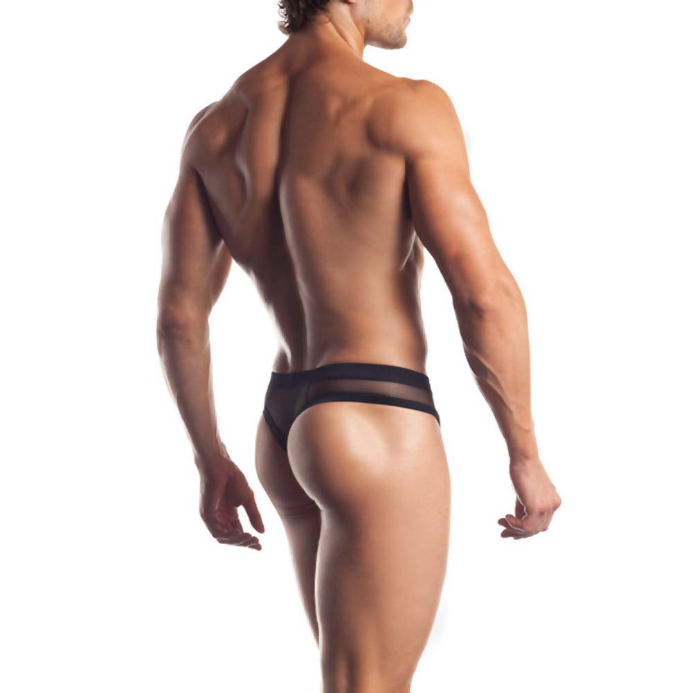 Joy Hollywood Mesh Thong With Contrast Trim One Size Black - View #2