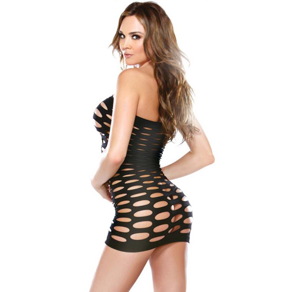 Fantasy Lingerie Tight-Fitting Mini Pothole Dress One Size Black - View #2