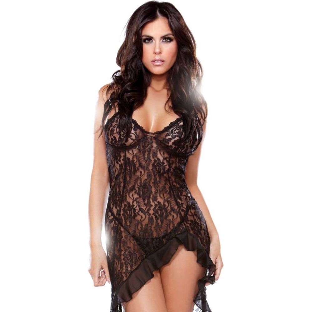 Fantasy Lingerie Tease Lace Asymmetrical Dress with Criss Cross Back One Size Black - View #1