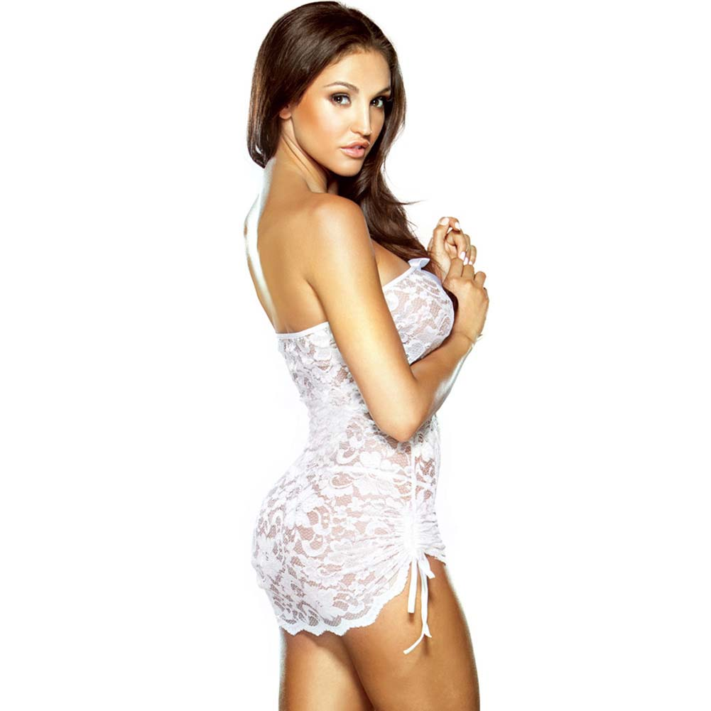Fantasy Lingerie Pure Lace Strapless Dress and G-String One Size White - View #2