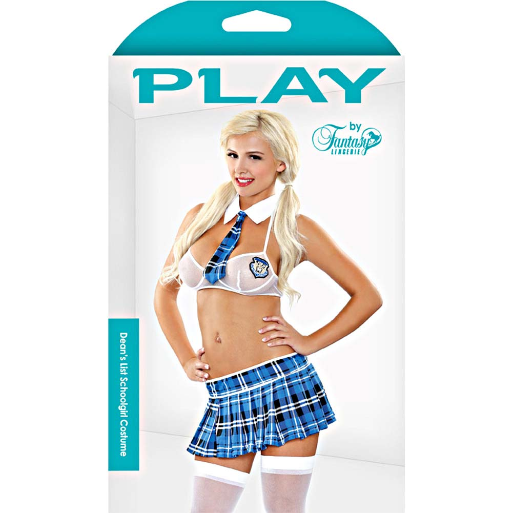 Fantasy Lingerie Seductive Deans List Schoolgirl Bedroom Costume Small/Medium Blue/White - View #3