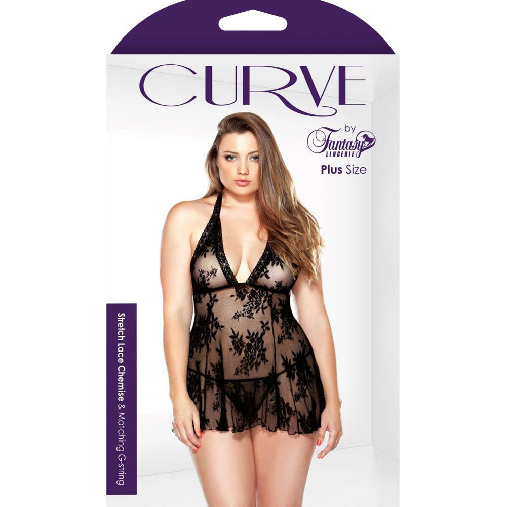 Fantasy Lingerie Curve Stretch Lace Chemise and Matching G-String 3X/4X Black - View #3