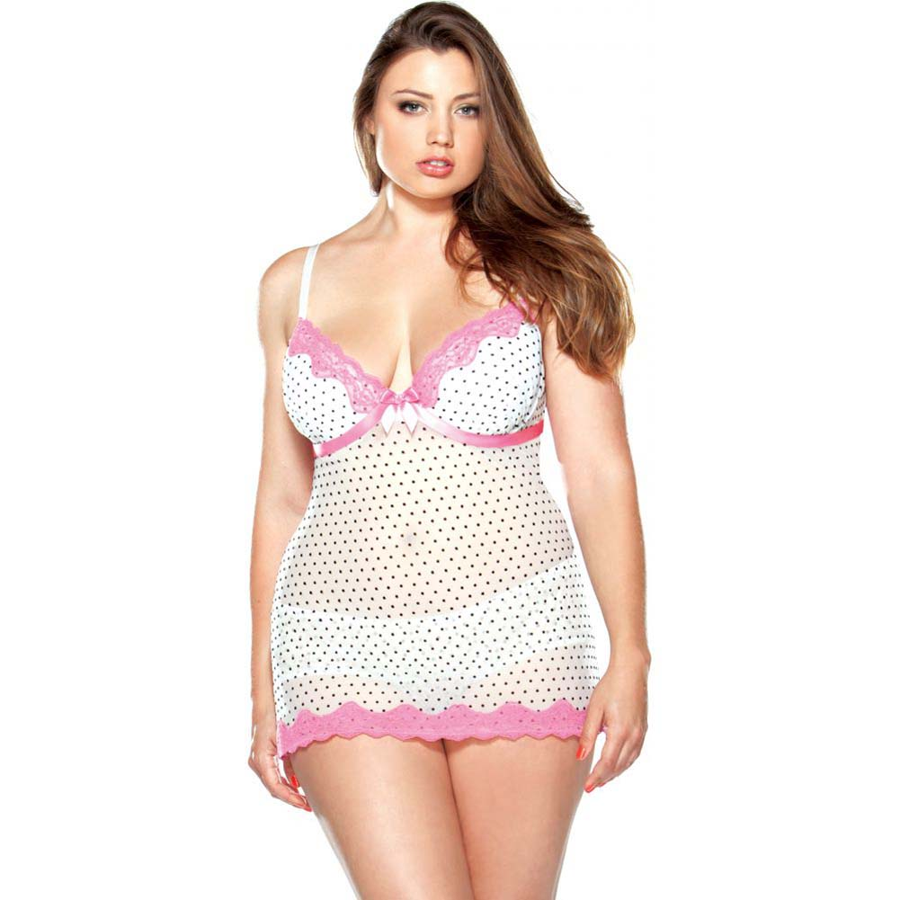 Fantasy Lingerie Curve Underwire Polka Dot Babydoll and G-String Set 3X/4X Pink/White - View #1