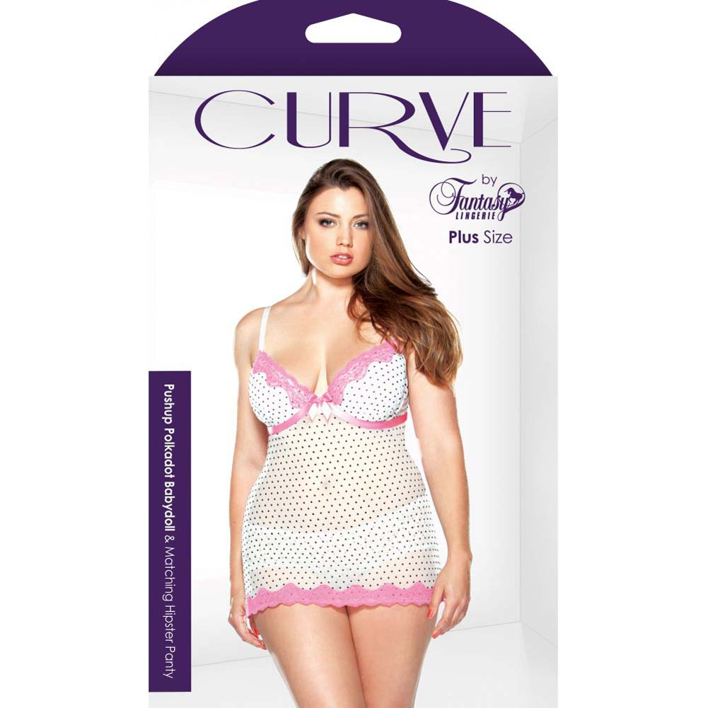 Fantasy Lingerie Curve Underwire Polka Dot Babydoll and G-String Set 3X/4X Pink/White - View #3