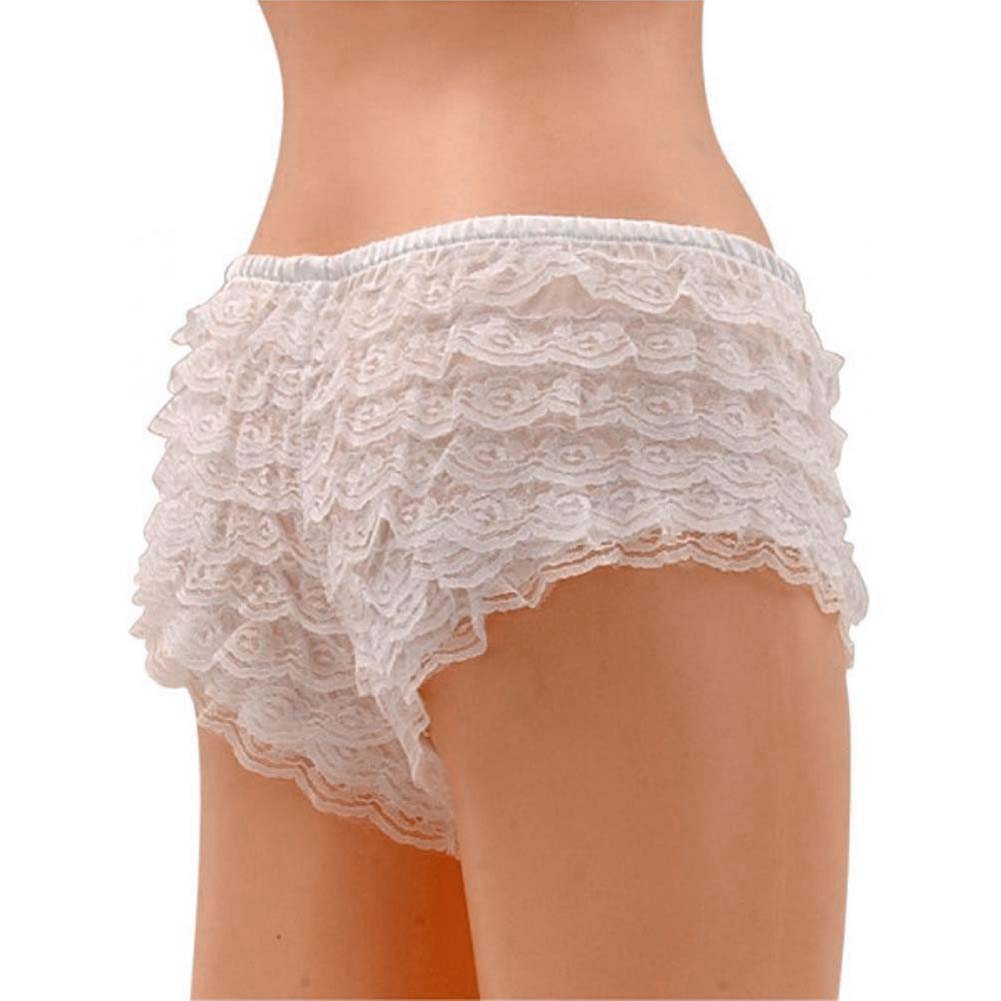 Be Wicked Ruffle Hot Pants White Large - View #2