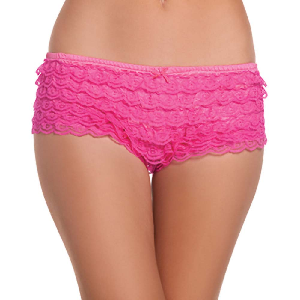 Be Wicked Ruffle Hot Pants Hot Pink Large - View #1