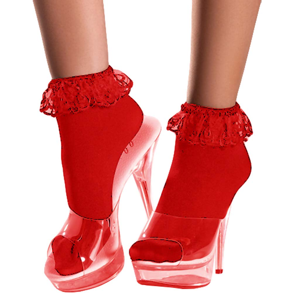 Ankle Socks with Lace Top Red One Size - View #1