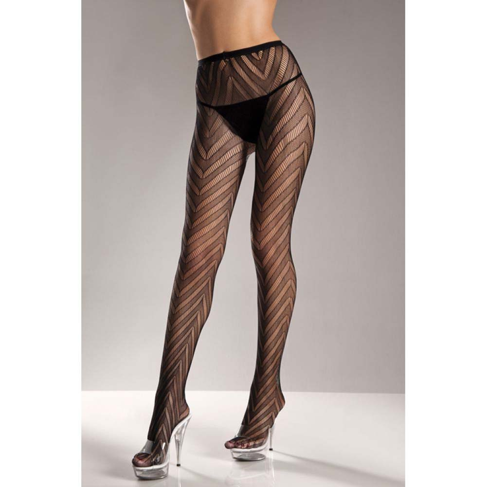 Designed Chevron Pattern Lycra Lace Pantyhose Black One Size - View #2