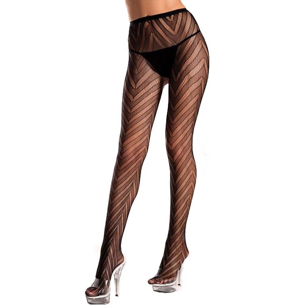 Designed Chevron Pattern Lycra Lace Pantyhose Black Plus Size - View #1
