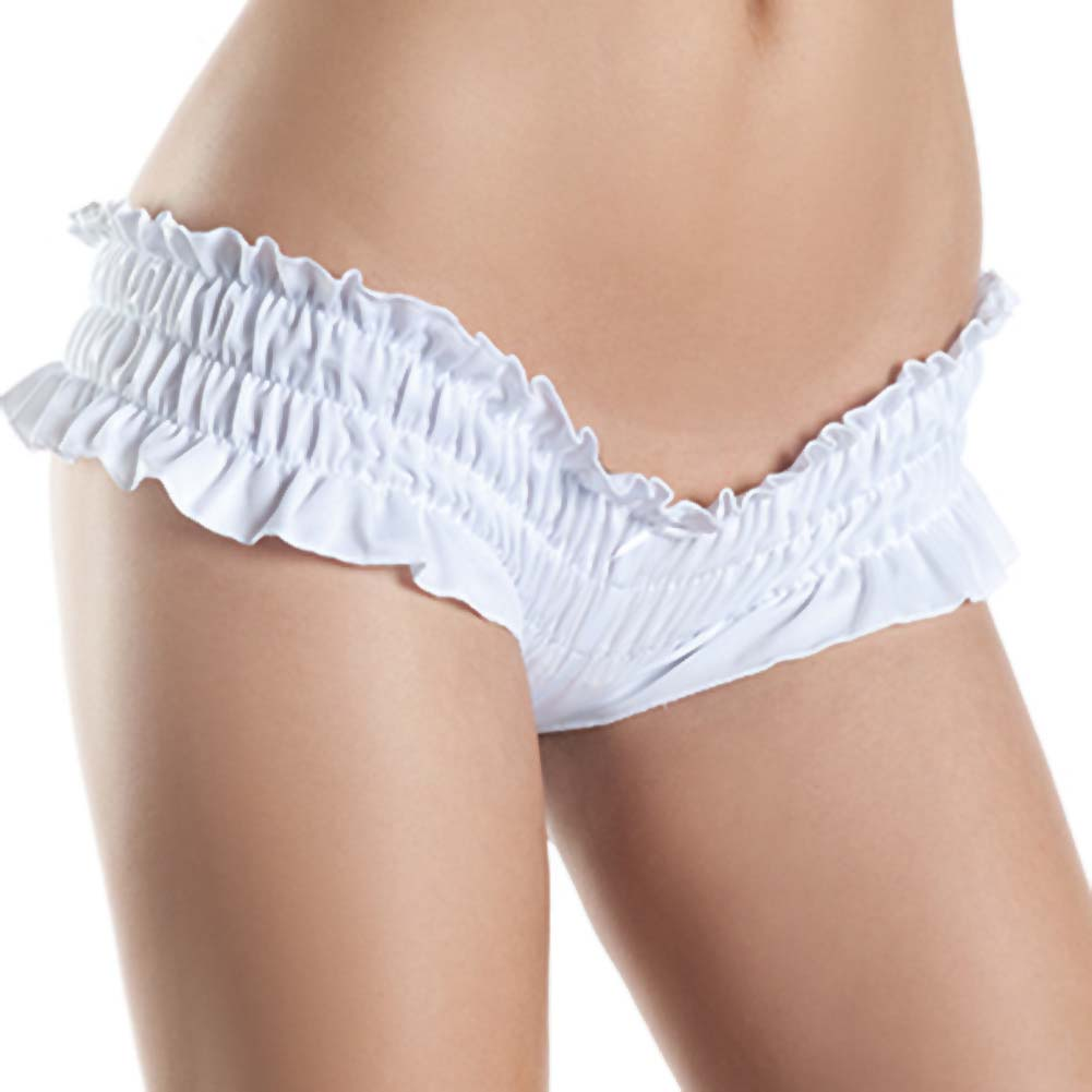 Mini Ruffled Booty Shorts White SM - View #1