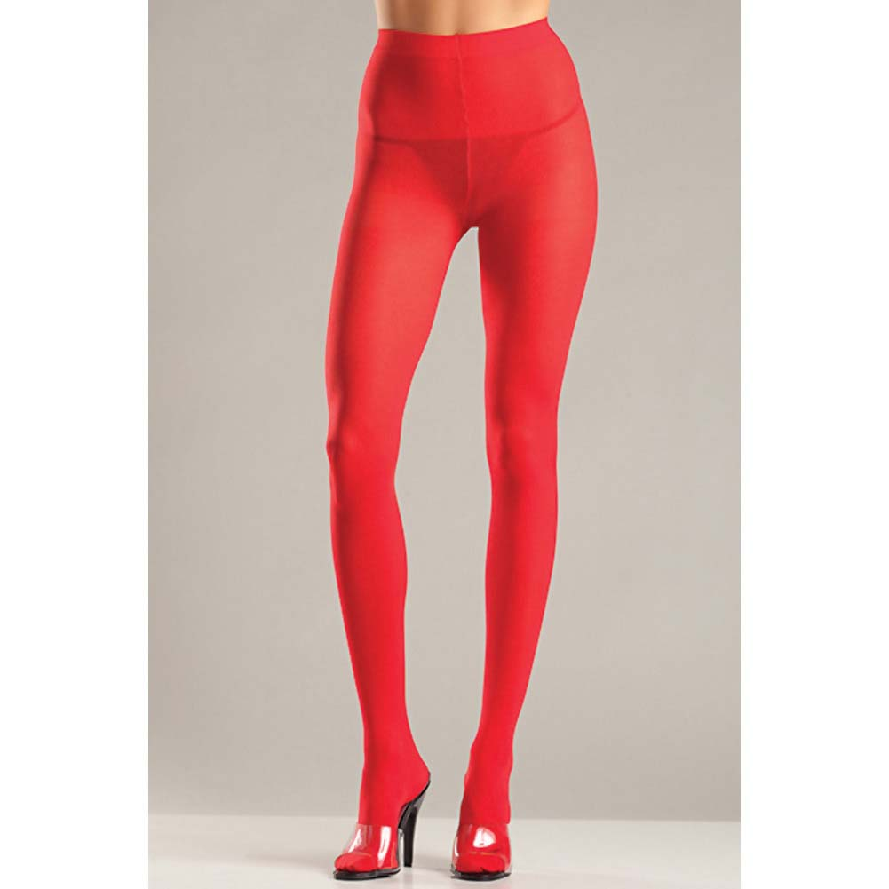 Be Wicked Opaque Nylon Pantyhose Sexy Lingerie One Size Hot Red - View #2