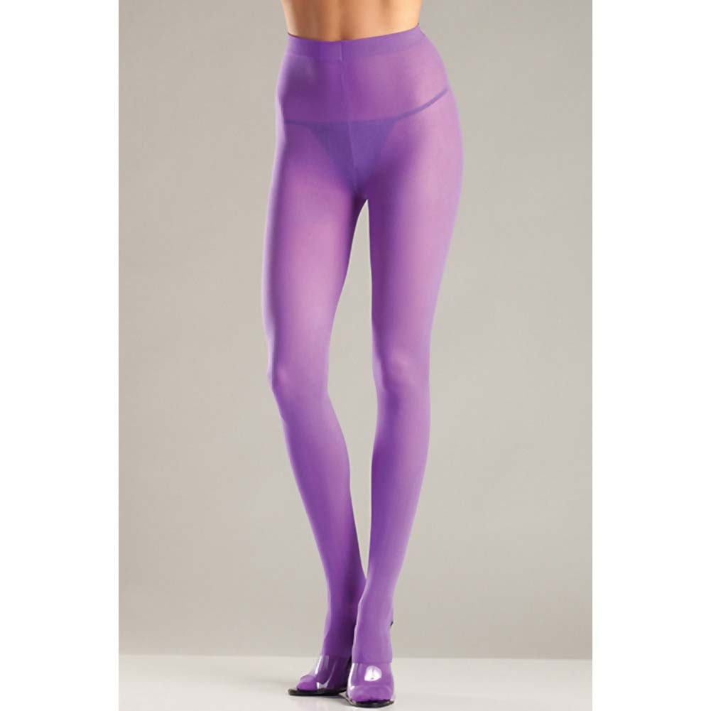 Opaque Nylon Pantyhose Purple QN - View #2