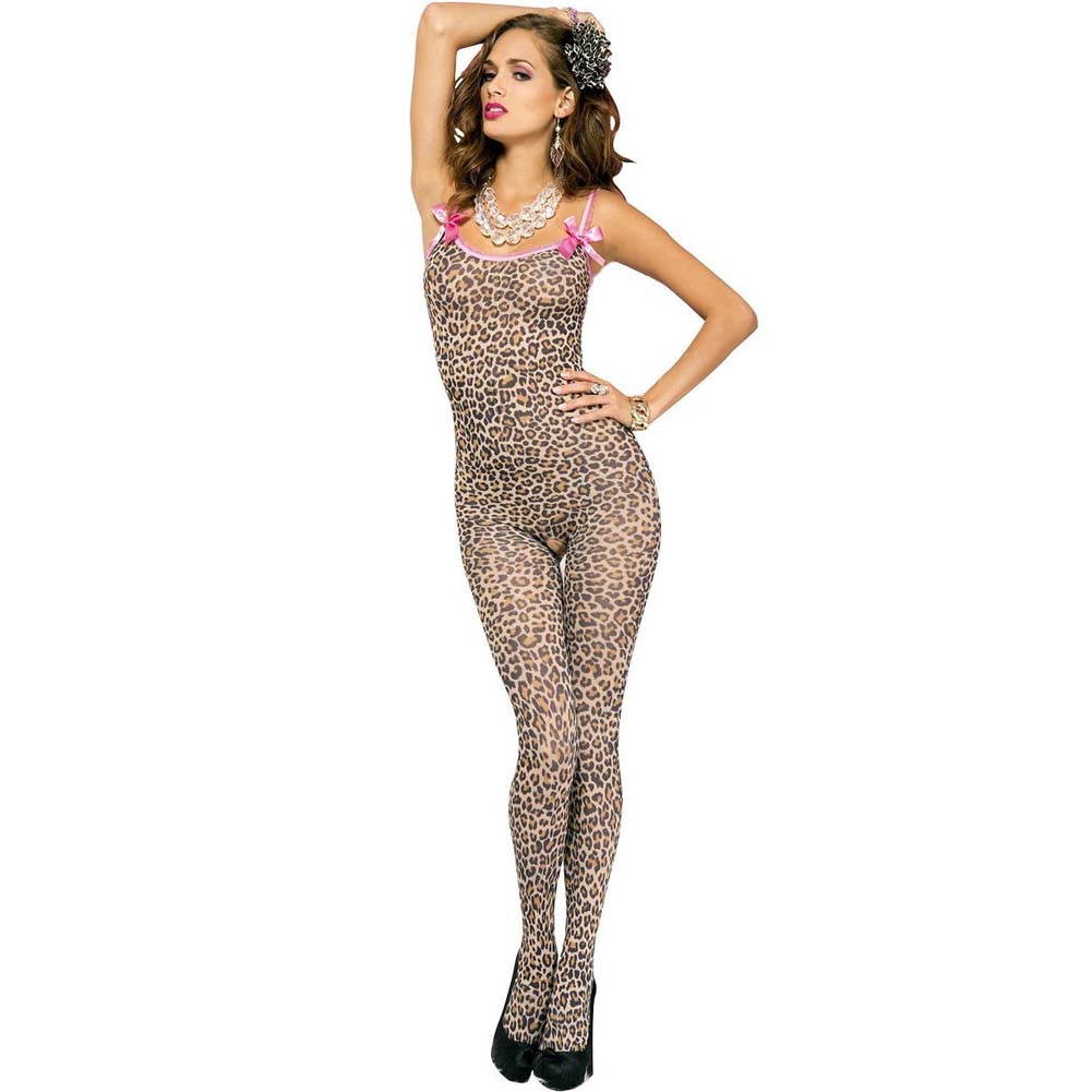 Leopard Print Crotchless Bodystocking W/Bows Leopard O/S - View #1